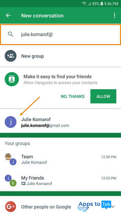 Tutorial on using Hangouts on Android devices