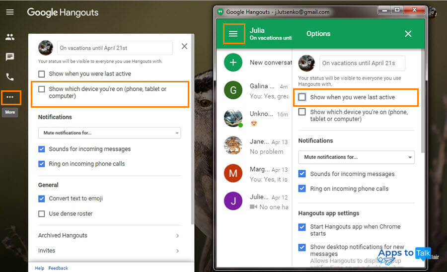 Google Hangouts statuses: information, online, offline, last